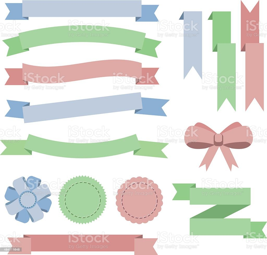 Set flat color ribbons, badges, bookmarks and bow. Blue, green, vector art illustration