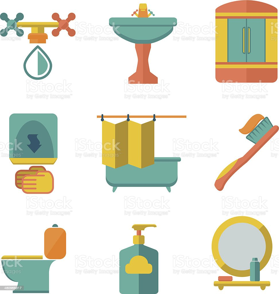 Set flat icons of bathroom and toilet vector art illustration