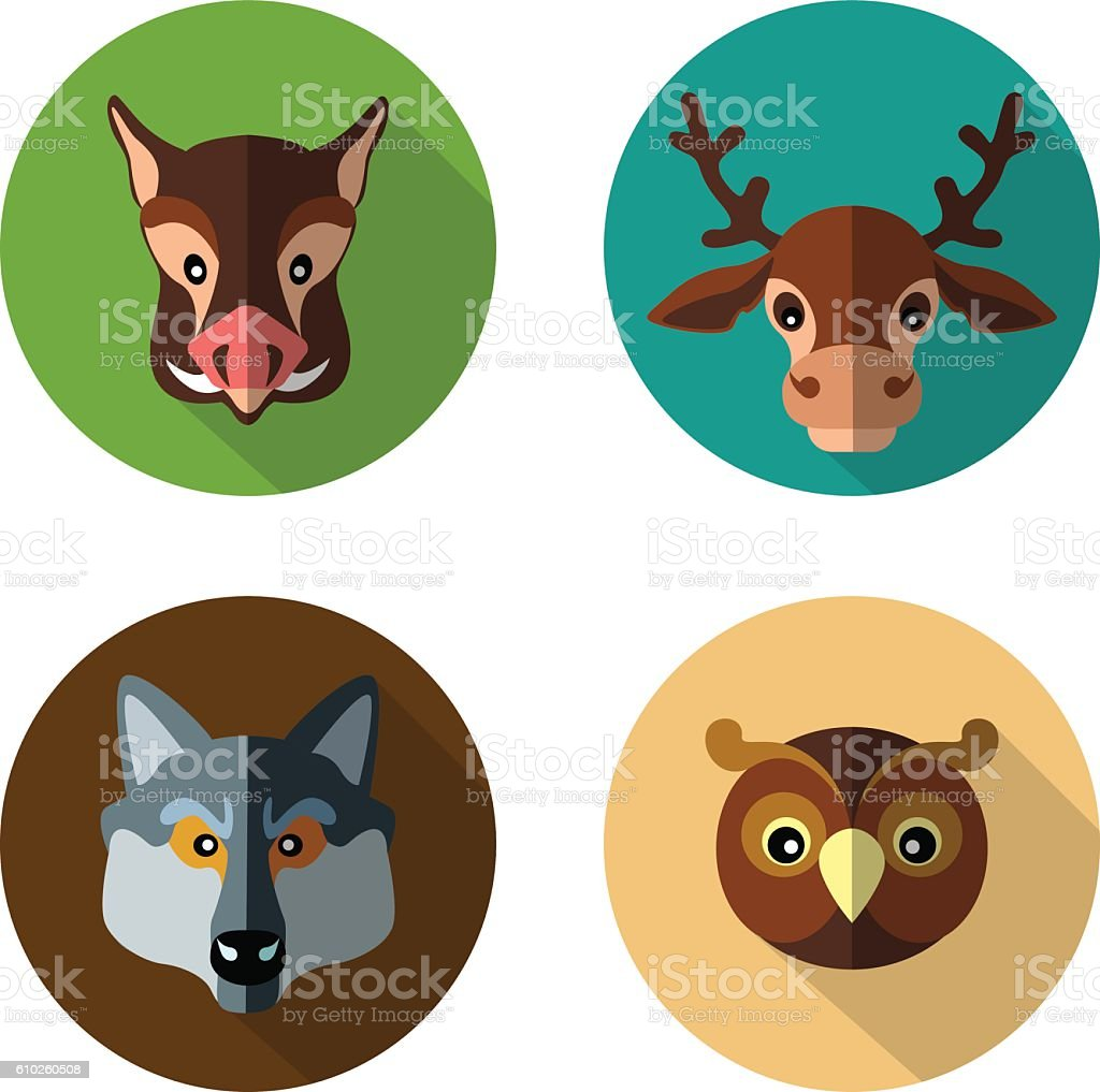 Set flat icons of forest animals vector art illustration