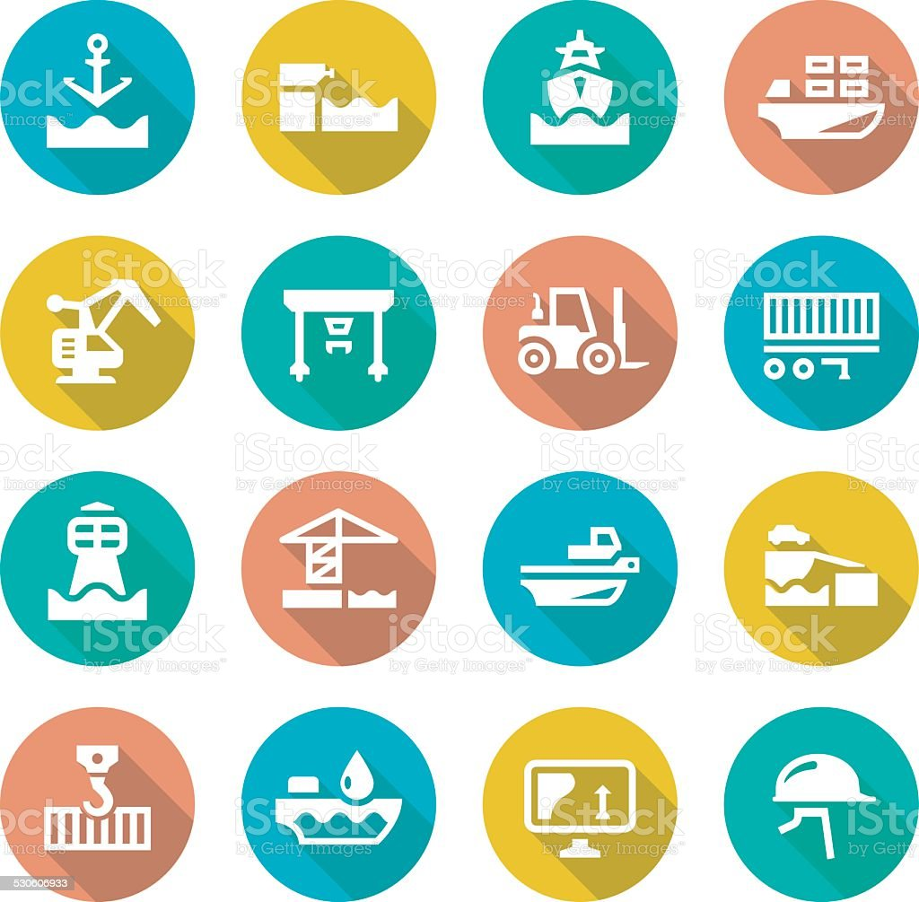 Set flat icons of seaport vector art illustration