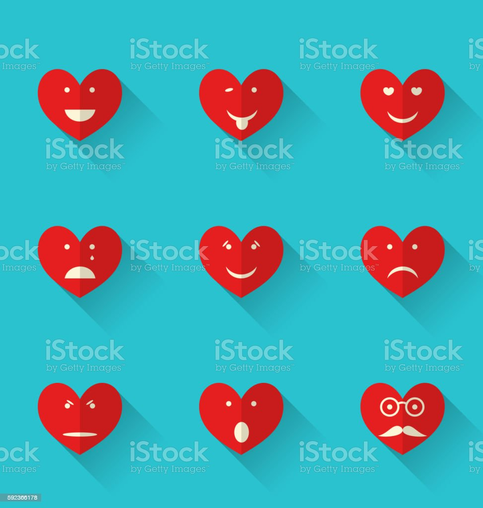 Set flat icons of smiles heart, style with long shadows vector art illustration