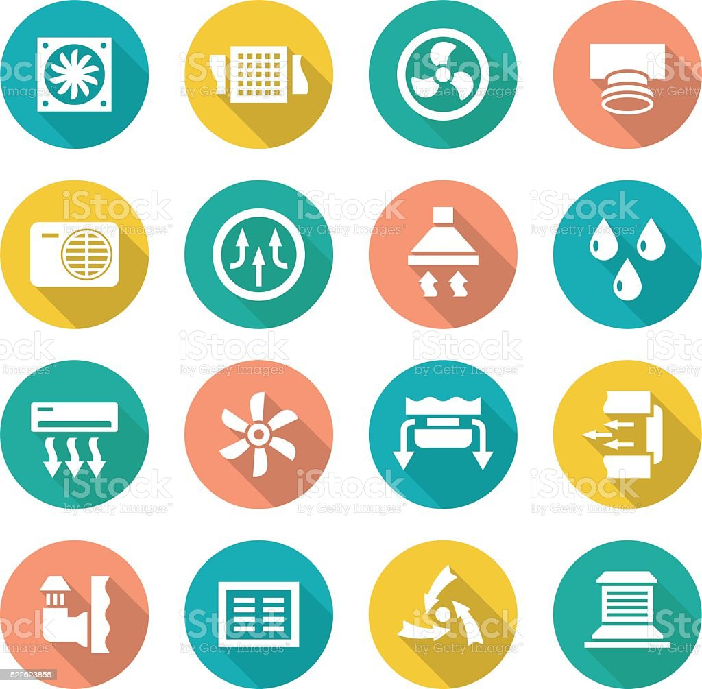 Set flat icons of ventilation and conditioning vector art illustration