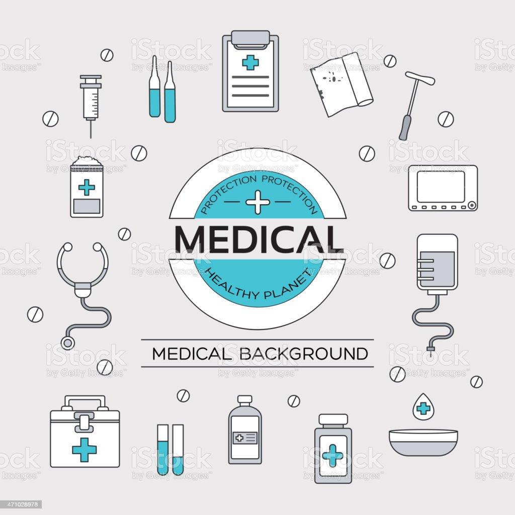 set flat medical icons thin lines outline design vector art illustration