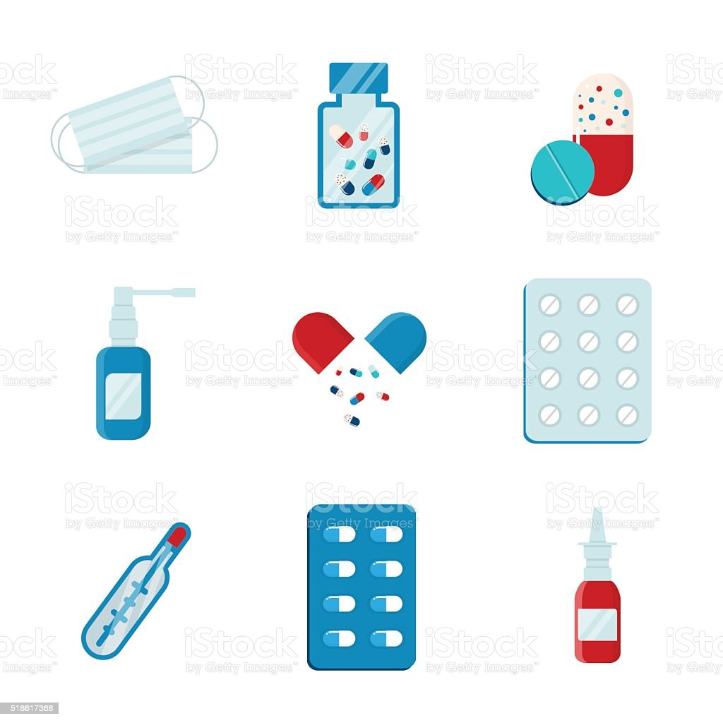 Set flat medical pills vector art illustration