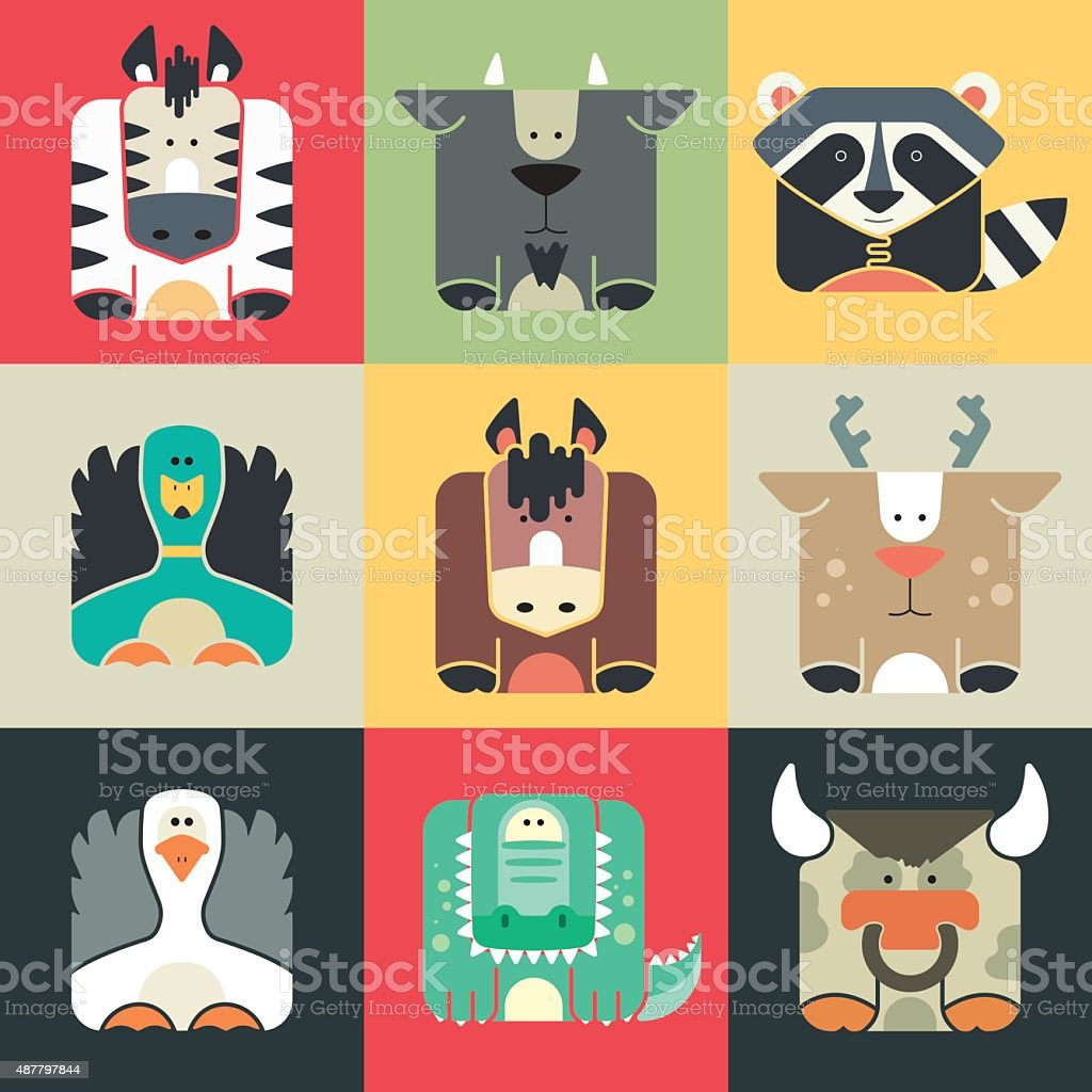 Set flat square icons of a cute animals vector art illustration