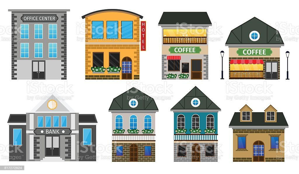 Set flat vector illustration stock building vector art illustration
