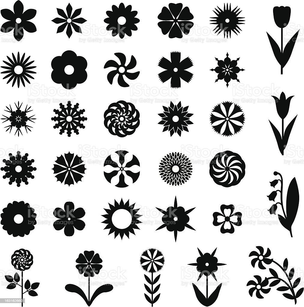 Set flower silhouette royalty-free stock vector art