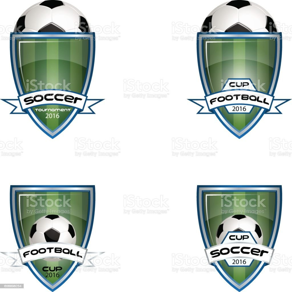 Set football logo for the team and the cup vector art illustration