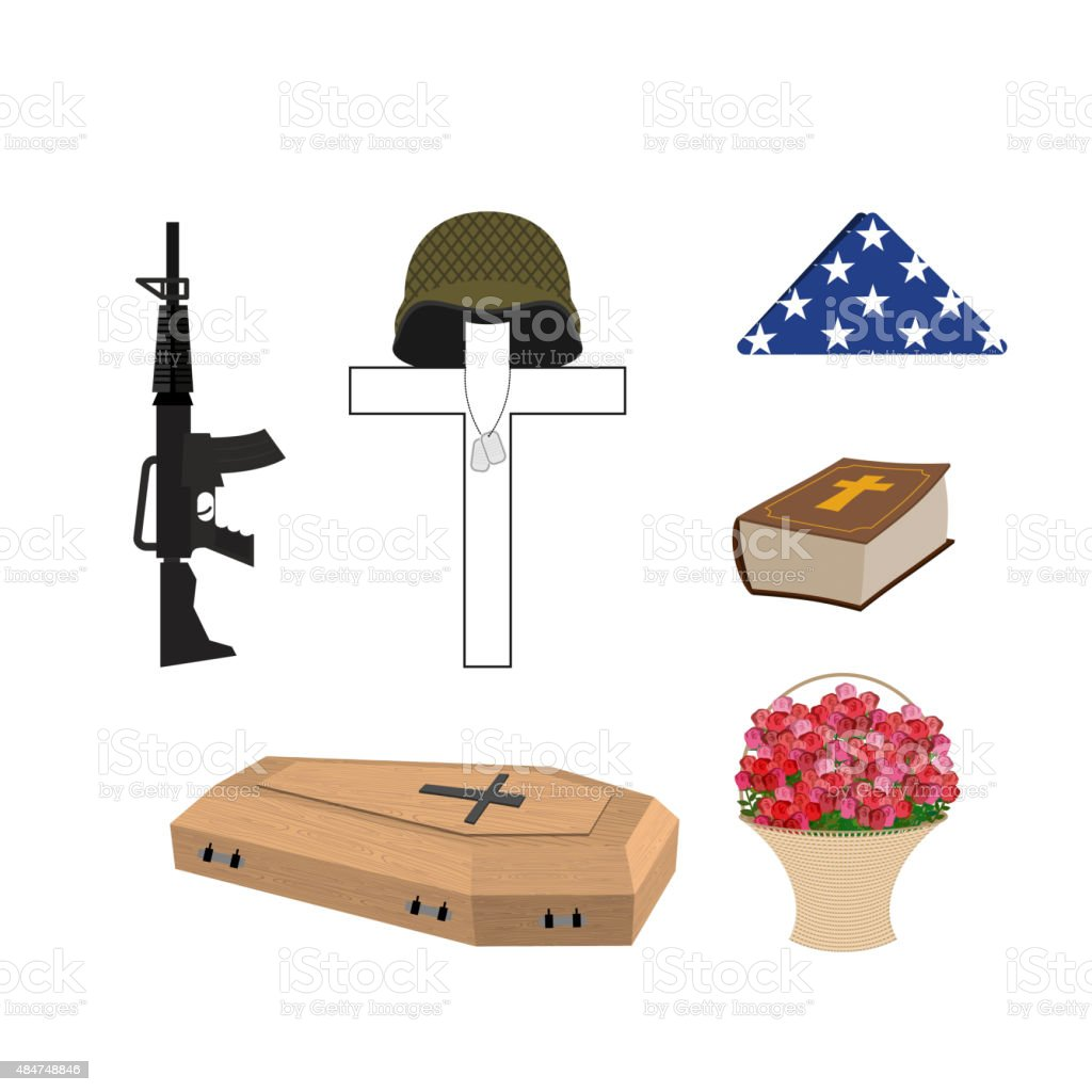 Set for burial of the soldier. Military funerals. Helmet vector art illustration
