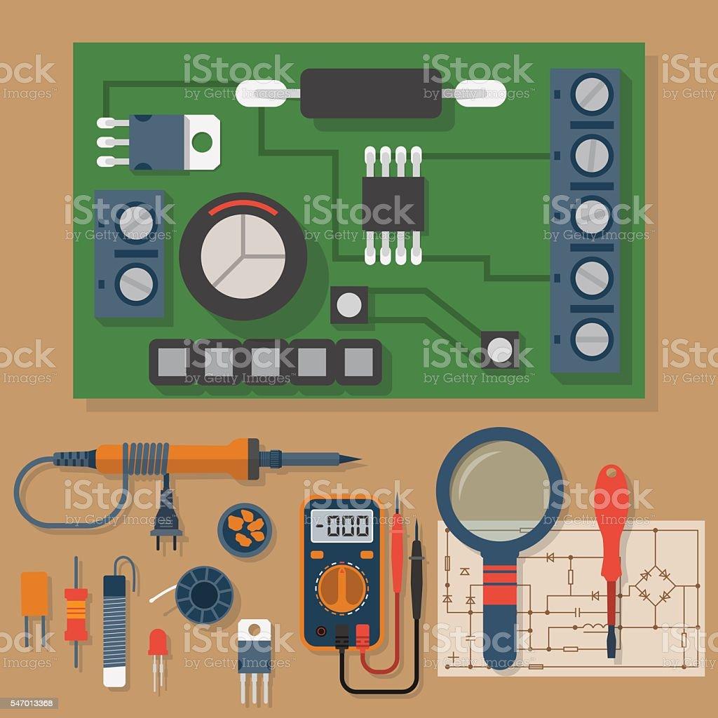 Set for soldering chips vector art illustration