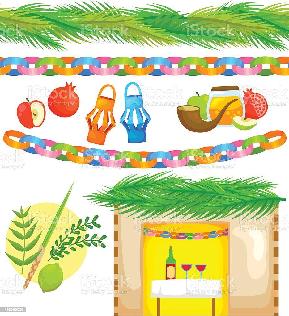 set for Sukkot vector art illustration