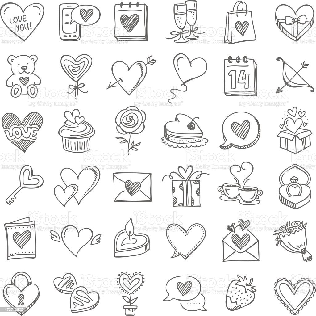 Set for Valentine's Day vector art illustration