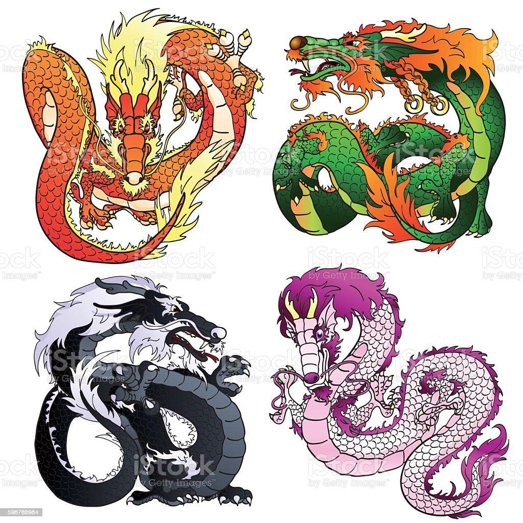 Set four artful Asian color dragon vector art illustration