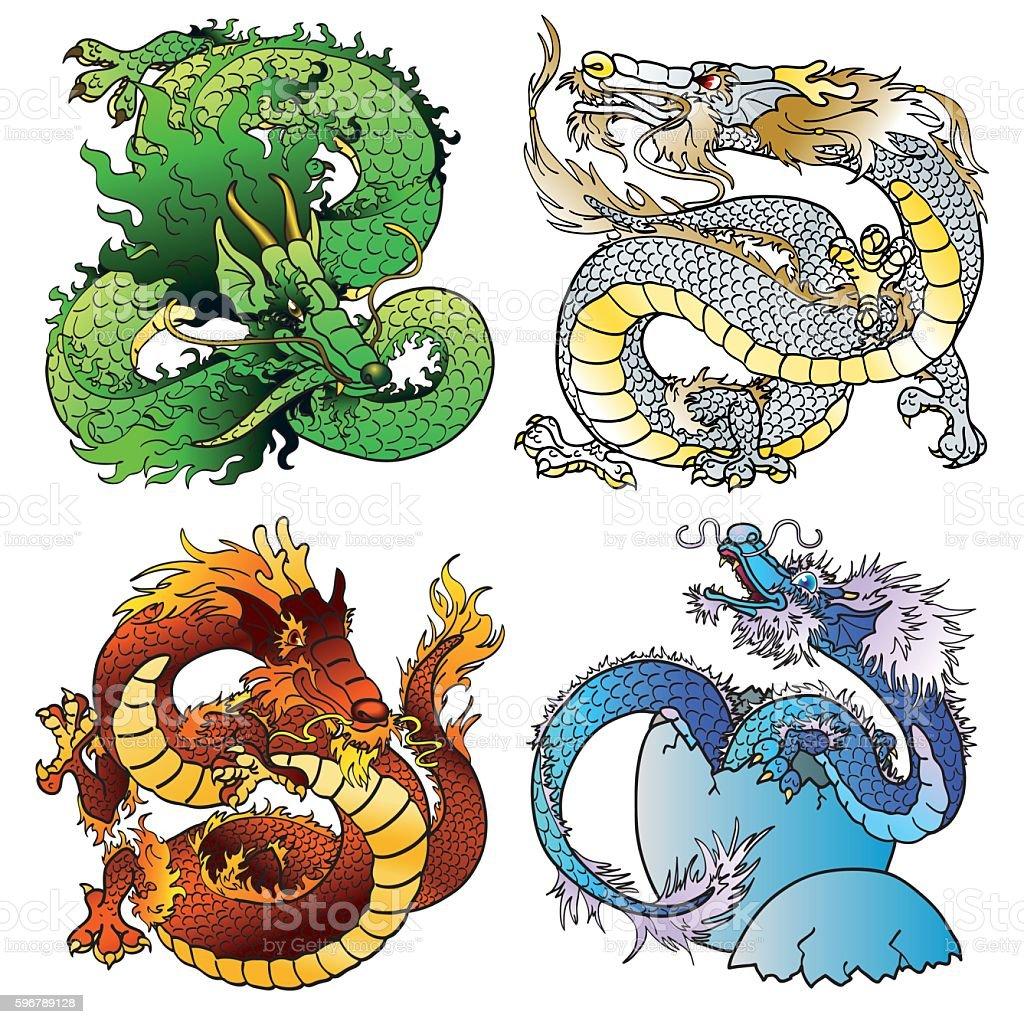 Set four majestic Asian color dragon vector art illustration