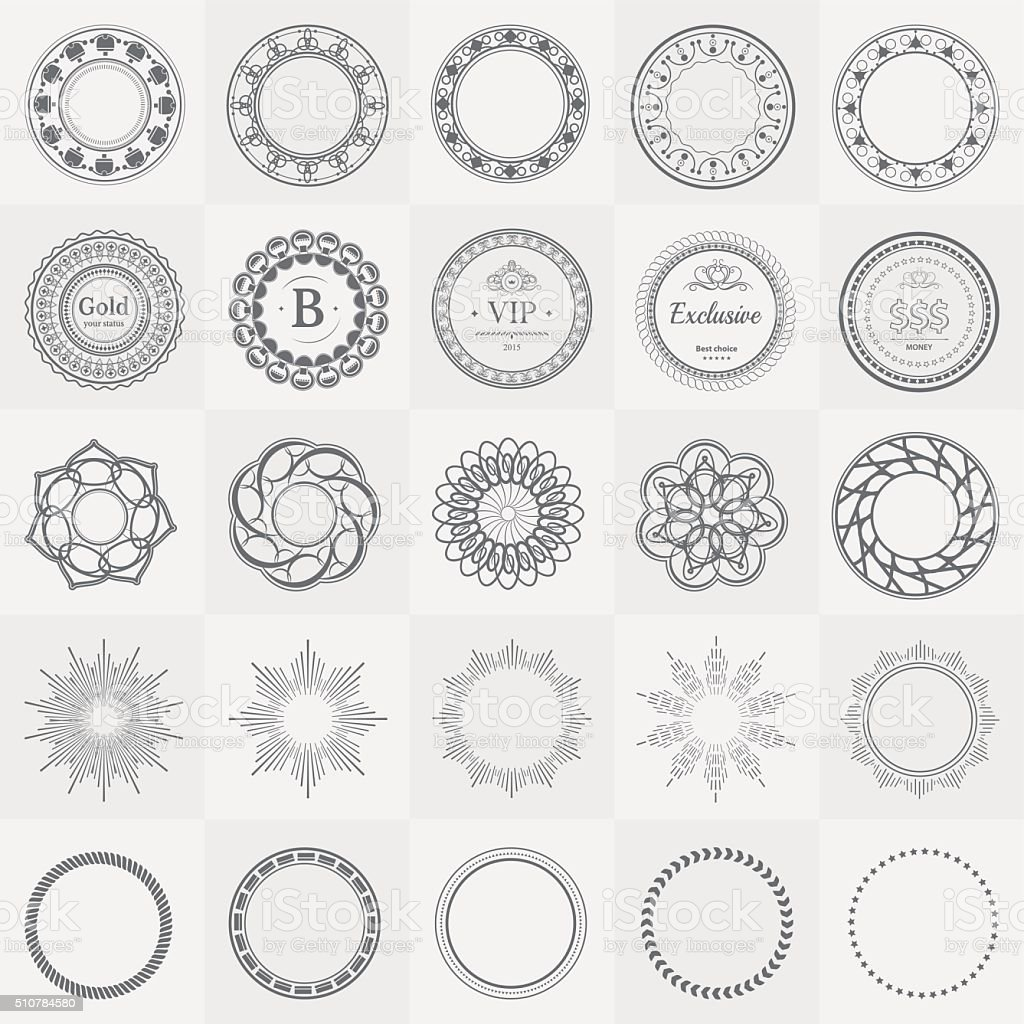 Set fractal and swirl shape element. Vintage labels vector art illustration
