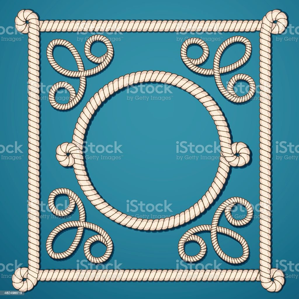 Set frame of rope vector art illustration