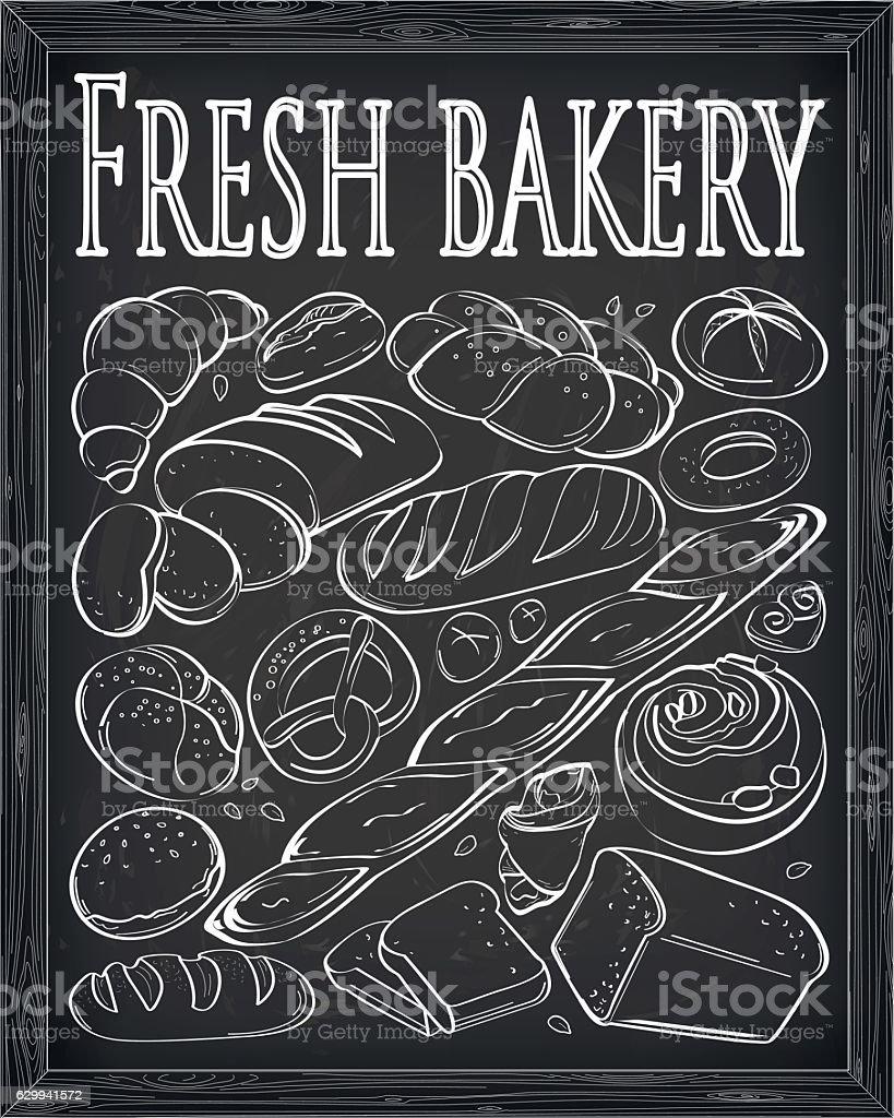 Set fresh bakery products chalk outline set vector illustration vector art illustration