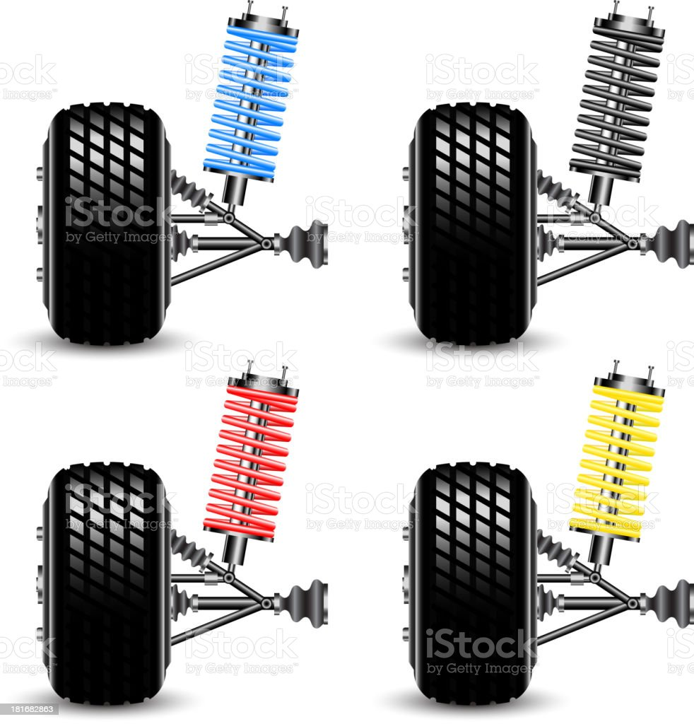 Set front car suspension, frontal view. royalty-free stock vector art
