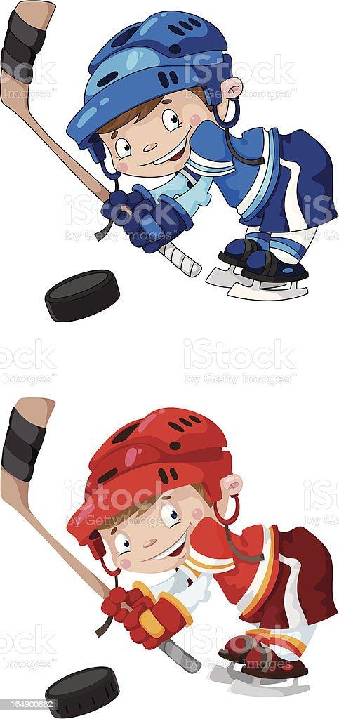 set funny boy hockey royalty-free stock vector art