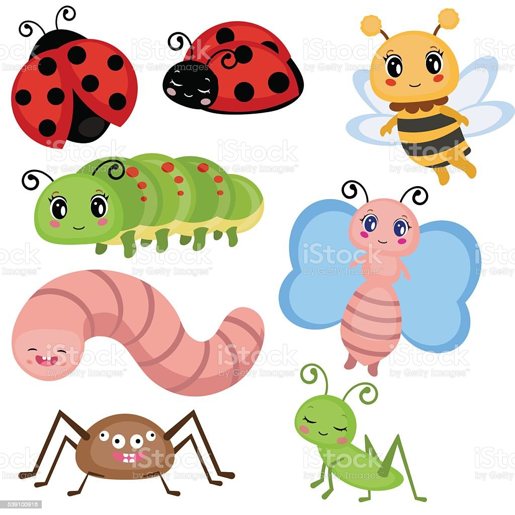 Set funny insects. vector art illustration