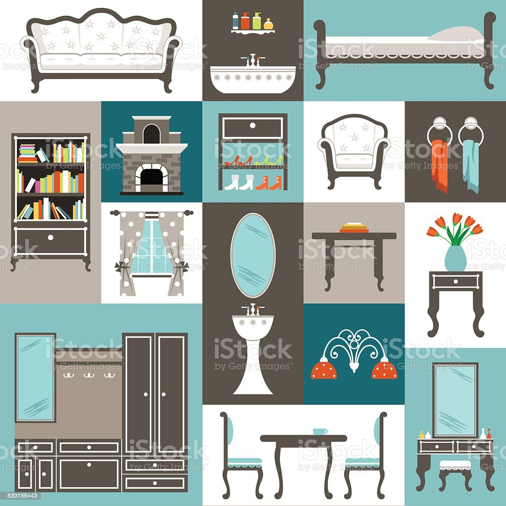 Set furniture. vector art illustration