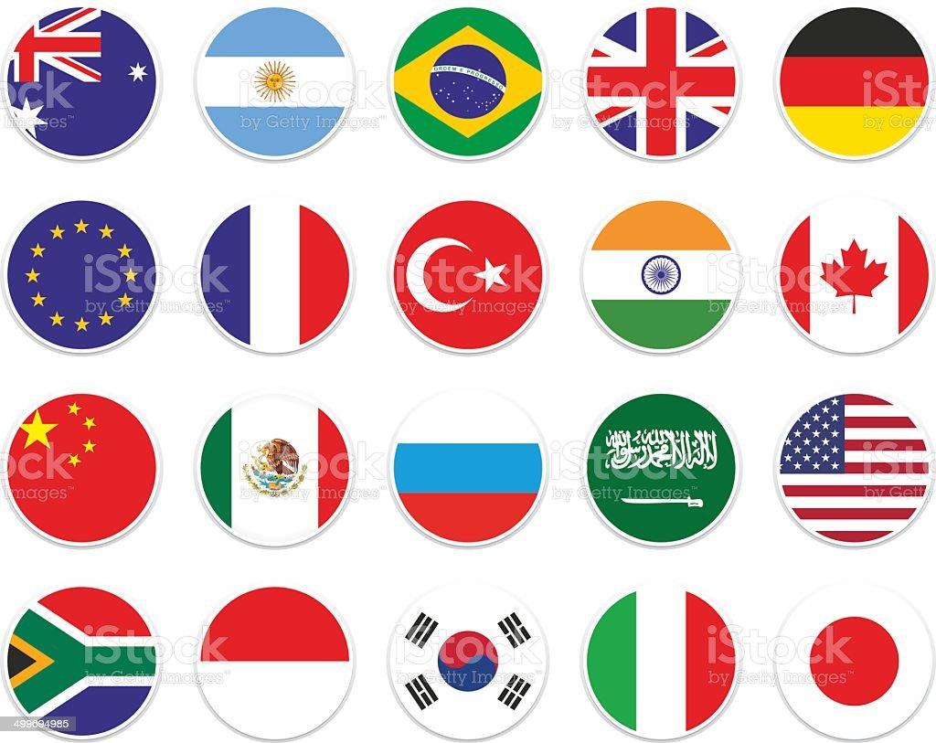 set G-20 circle flag vector art illustration
