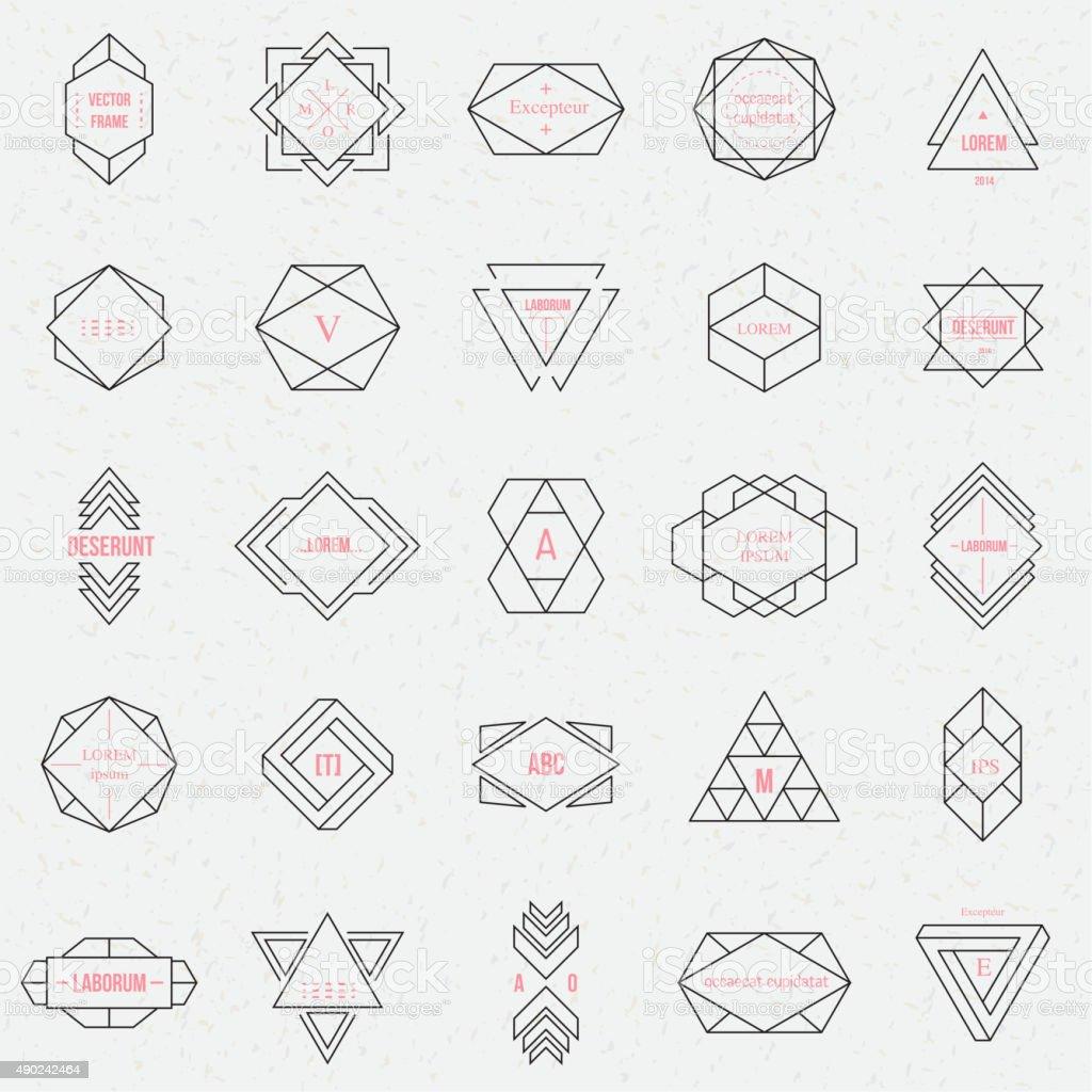 Set geometric signs, labels, and frames vector art illustration