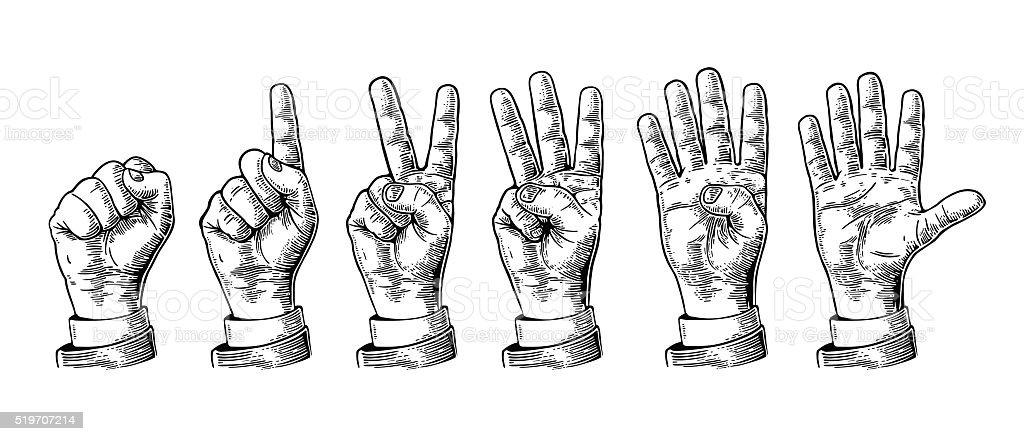 Conjunto Gestos con las manos recuento desde cero hasta cinco. illustracion libre de derechos libre de derechos