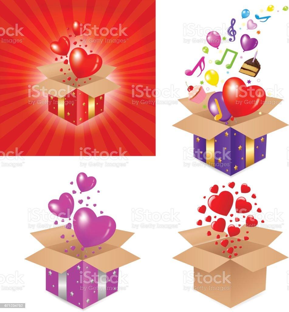 Set Gift Box vector art illustration