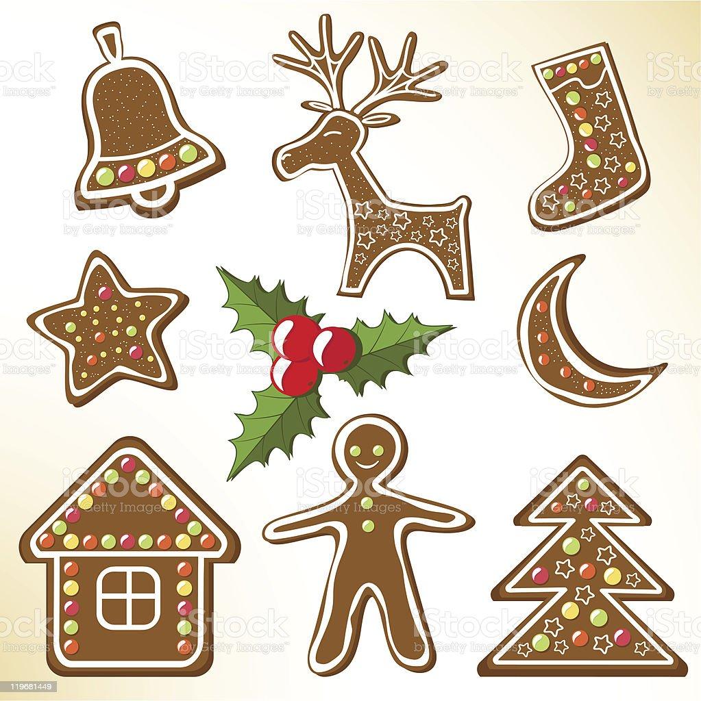Set gingerbread cookies. royalty-free stock vector art