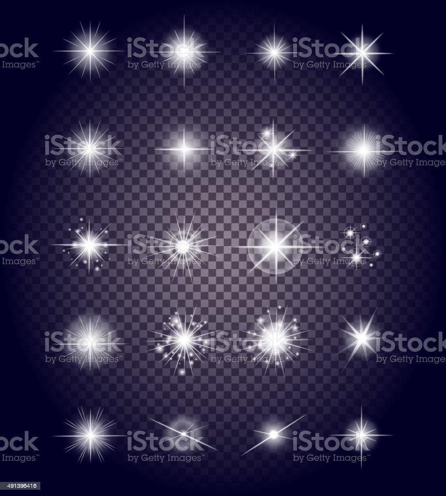 Set Glows Bright Star Light Fireworks vector art illustration