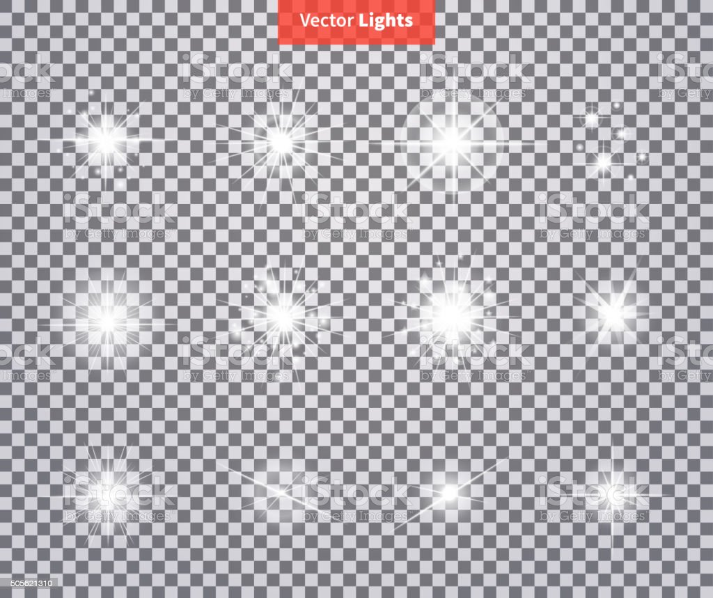 Set Glows Bright Star Light Fireworks vector art illustration