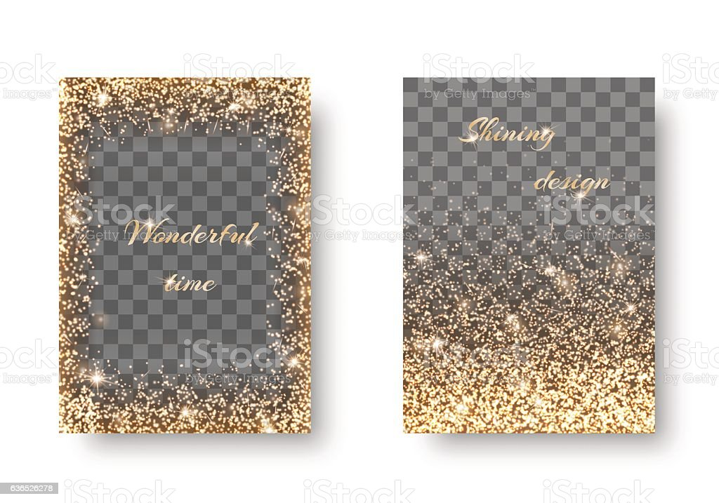 Set golden transparent background vector art illustration