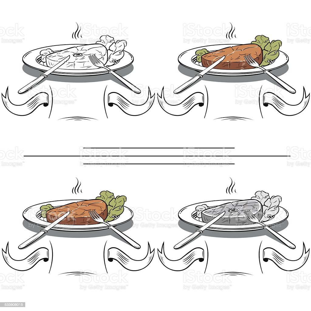 set Grilled Steak and Green lettuce - Illustration royalty-free stock vector art