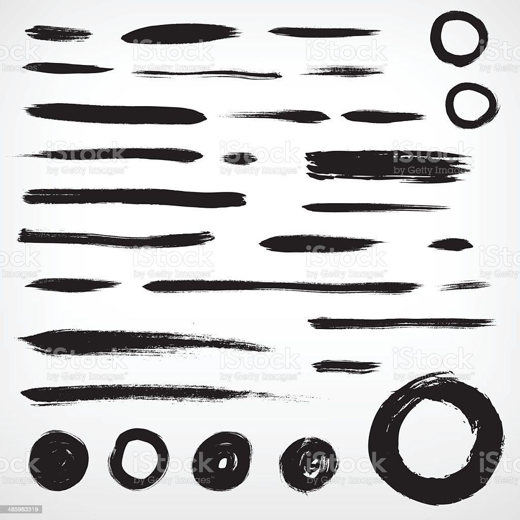 set grunge brushed elements. lines and circles vector art illustration