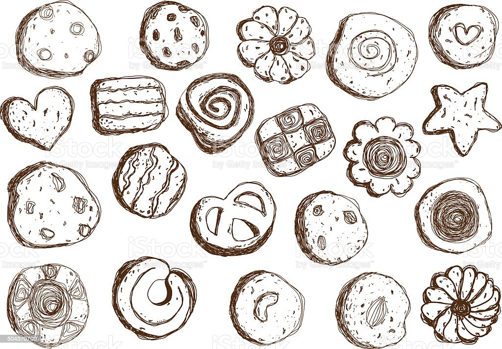 Set hand drawn cookies on white background vector art illustration