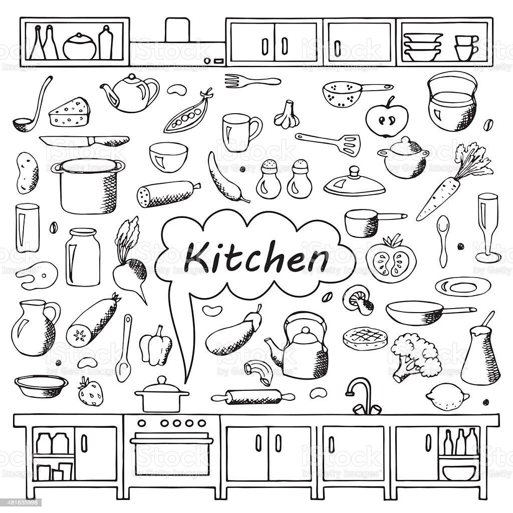 Set hand drawn kitchen doodles vector art illustration