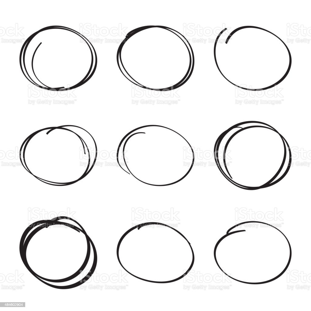 Set hand drawn ovals, felt-tip pen circles vector art illustration
