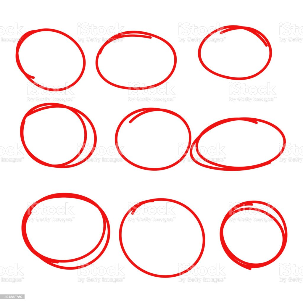Set hand drawn ovals vector art illustration