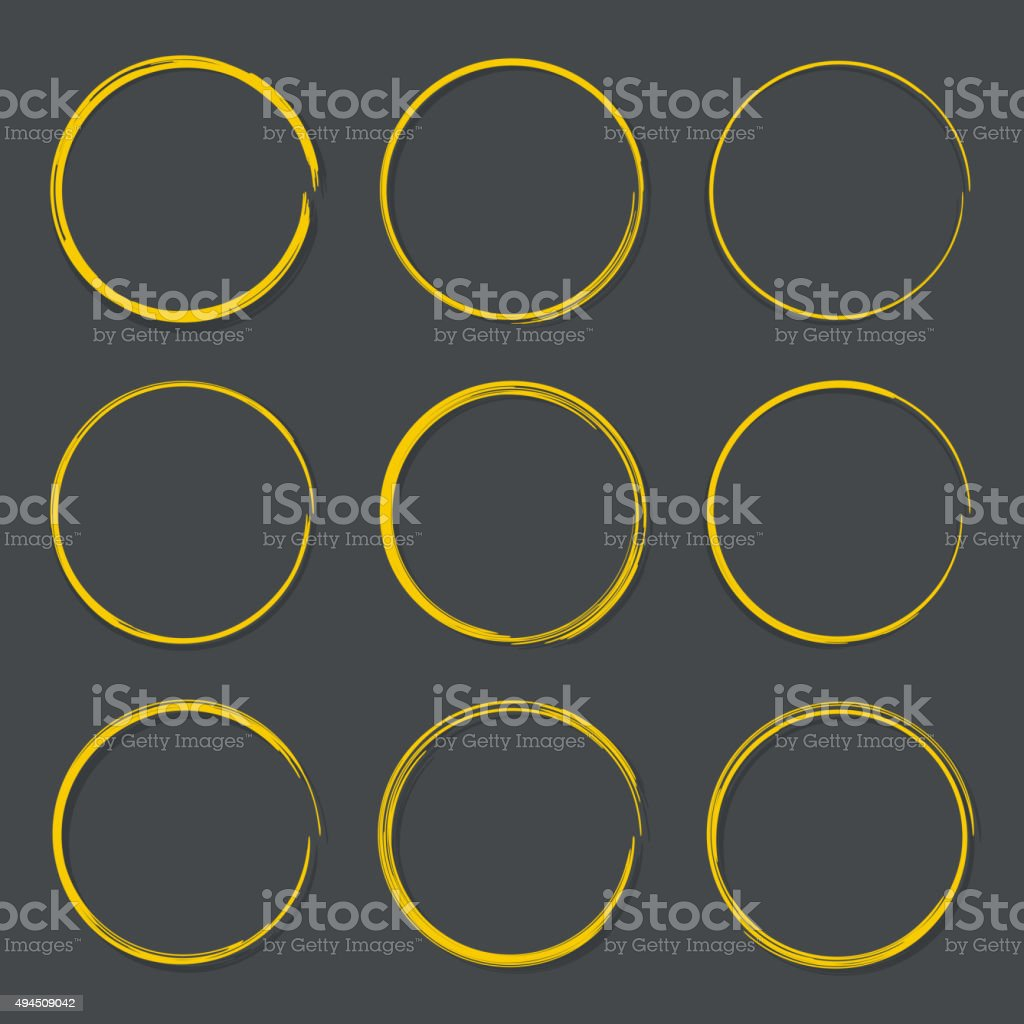 Set hand drawn ovals vector art illustration