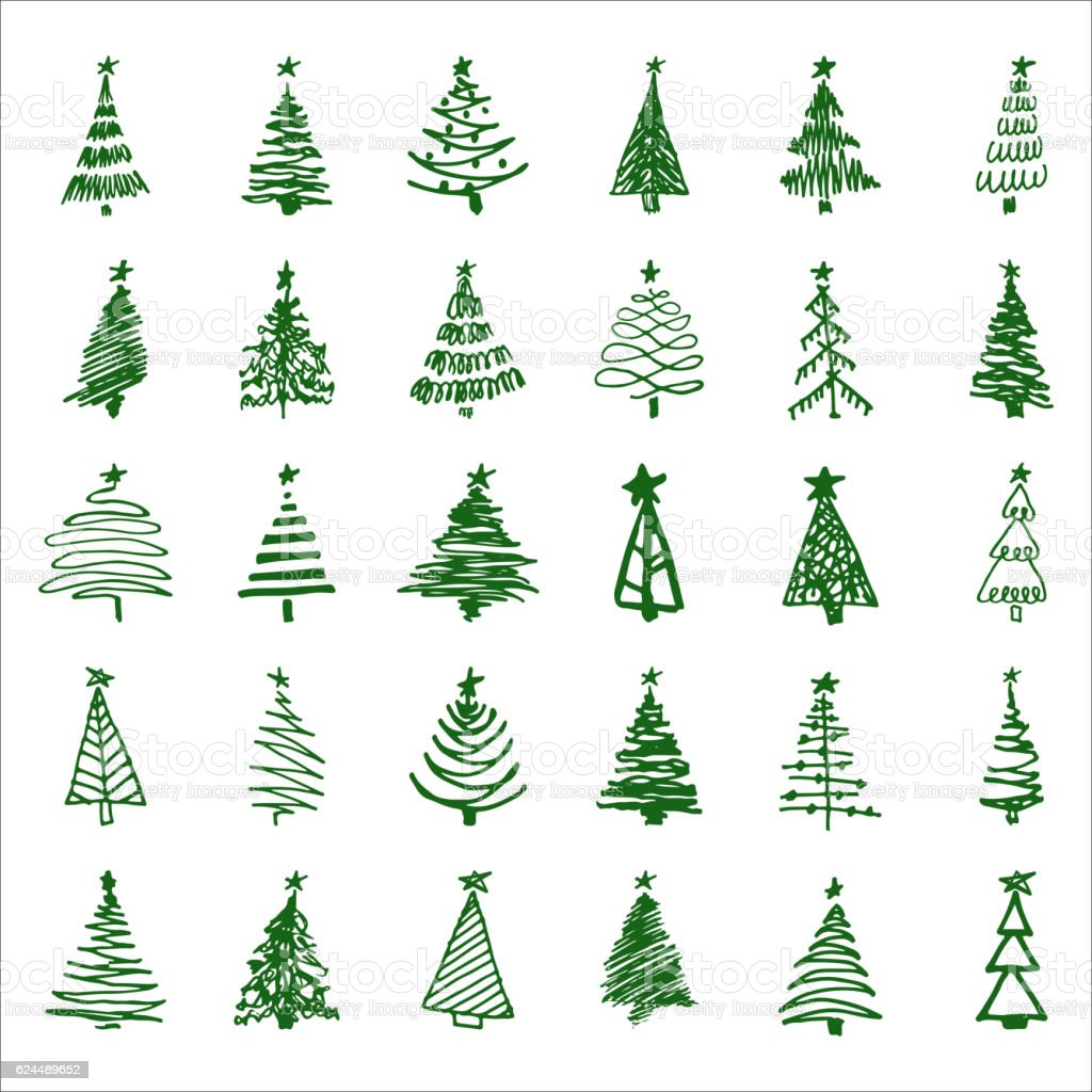 Set hand-drawn sketch Christmas and New Year tree vector art illustration