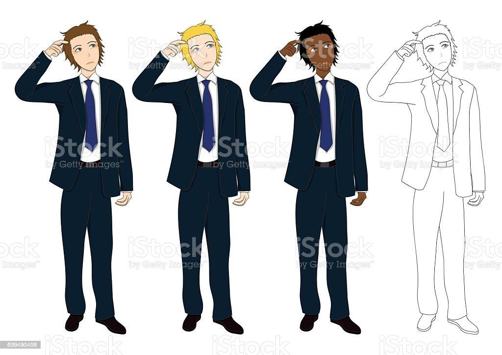 Set Handsome Business Man Thinking to Make Decision. vector art illustration