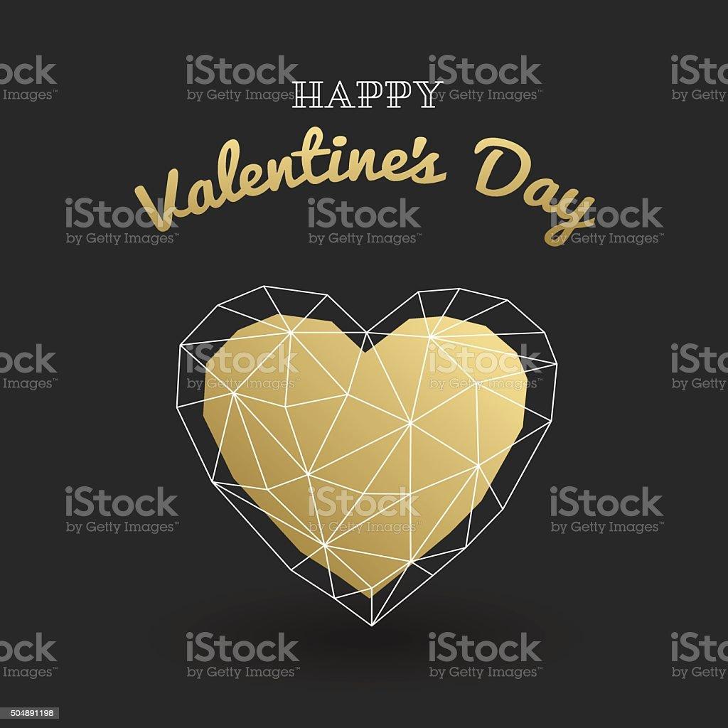 Set happy Valentines Day card. Gold polygonal heart. vector art illustration