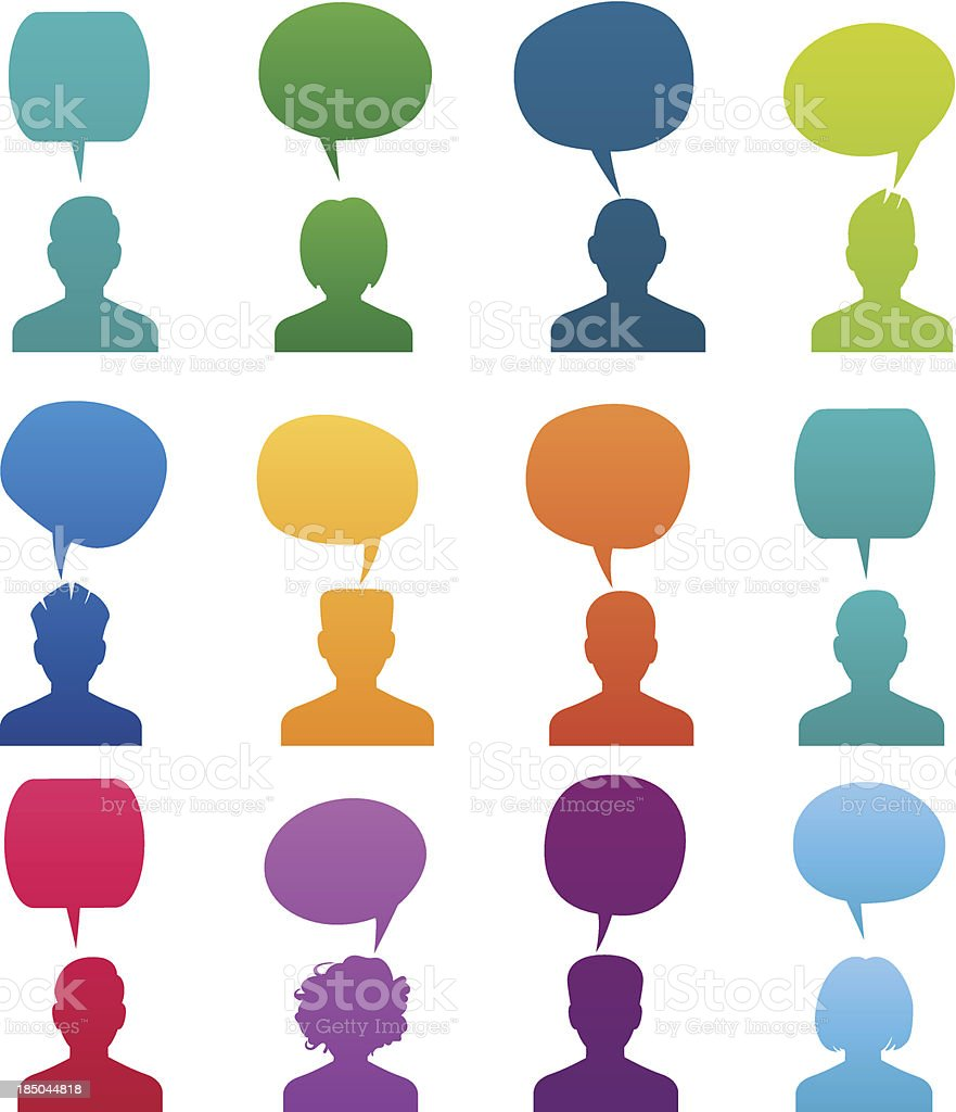 Set Head Silhouette with speech bubble vector art illustration