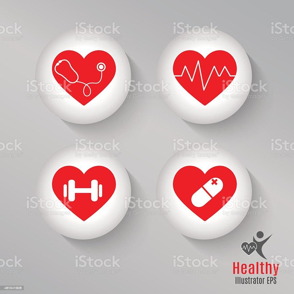 Set heart healthy vector art illustration