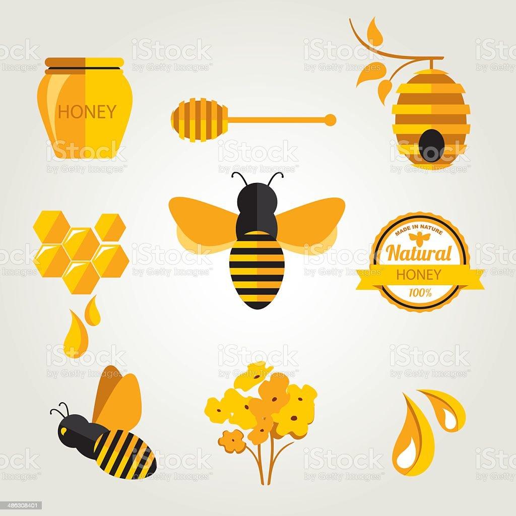 Set Honey badges and labels. vector art illustration