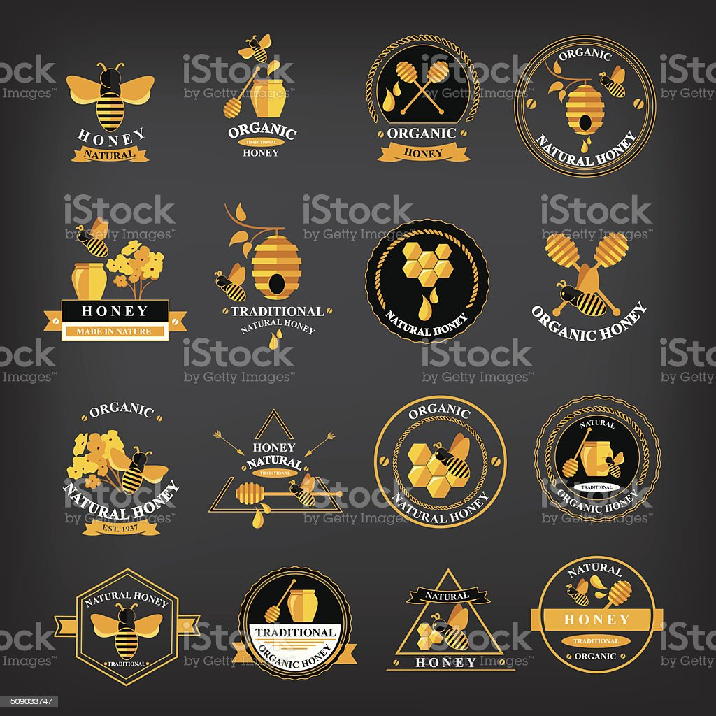 Set Honey badges and labels. vector art illustration