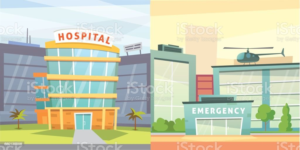 Set Hospital building cartoon modern vector illustration. Medical Clinic and city background. Emergency room exterior. vector art illustration