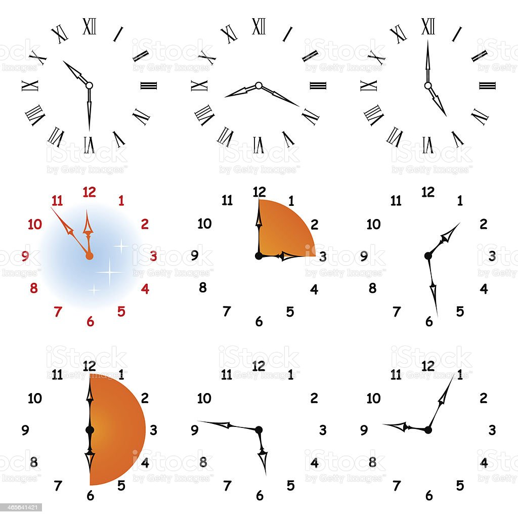 Set hours. vector art illustration