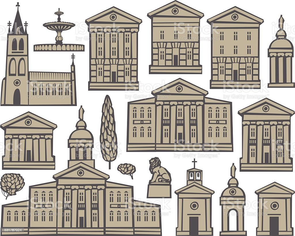 set houses and churches vector art illustration